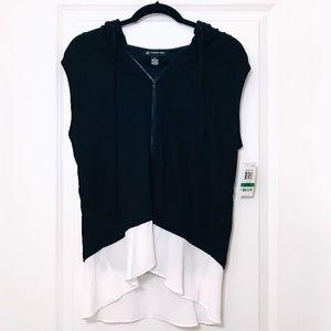 I.N.C. Sleeveless Zippered Hoodie - Black/White